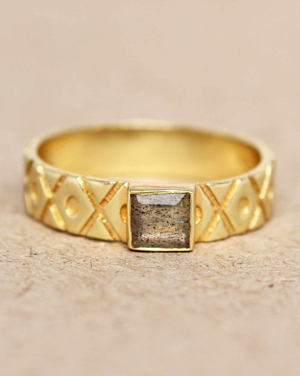 h ring size 52 labradorite square crosses and dots gold pla
