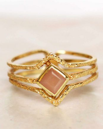 H- ring size 54 peach moonstone diamond three bands gold pla