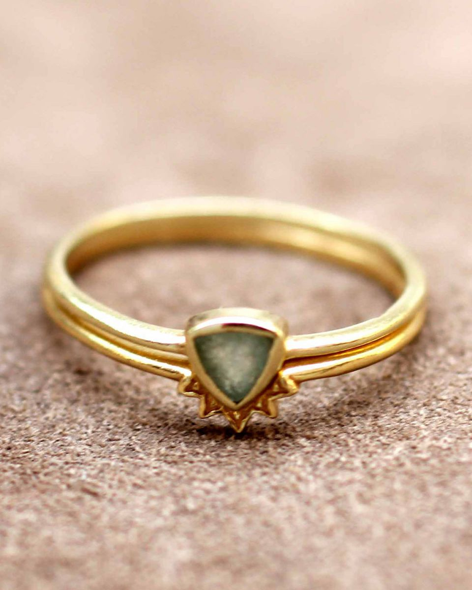 h ring size 54 triangle nefrite set of 2 gold plated