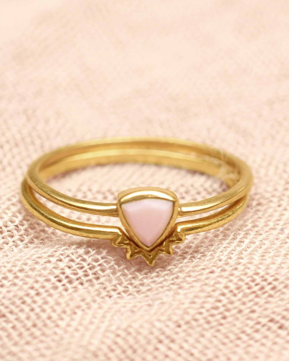 h ring size 54 triangle pink opal set of 2 gold plated