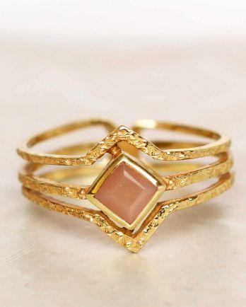 H- ring size 56 peach moonstone diamond three bands gold pla