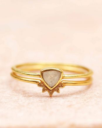 H- ring size 56 triangle moonstone set of 2 gold plated