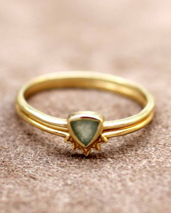 H- ring size 56 triangle nefrite set of 2 gold plated