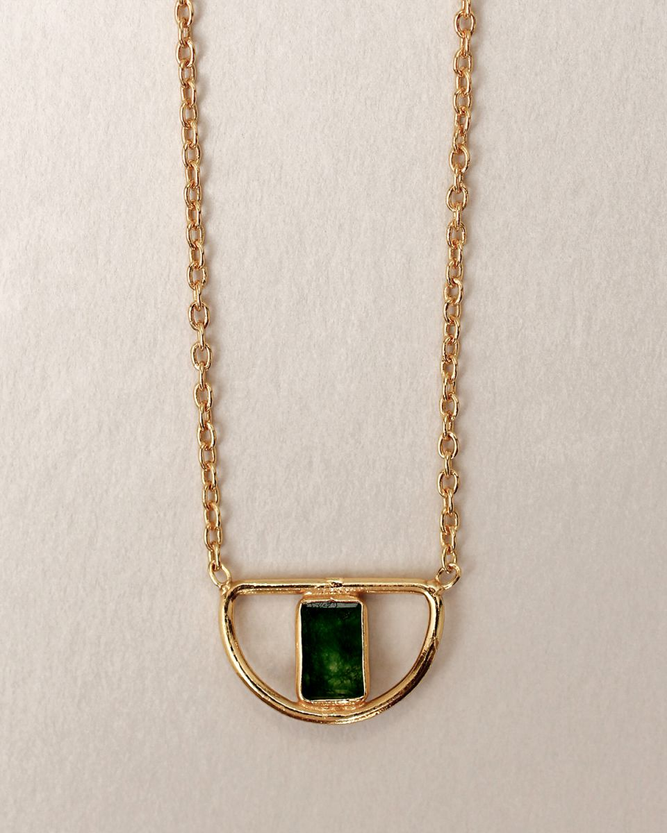 i collier egypt filigree green zed gold plated