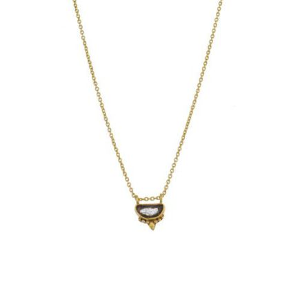 I-collier etnic moon with labradorite gold plated