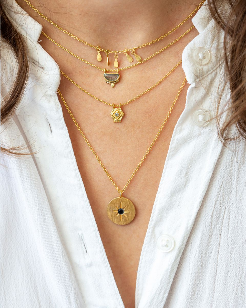 icollier etnic moon with labradorite gold plated