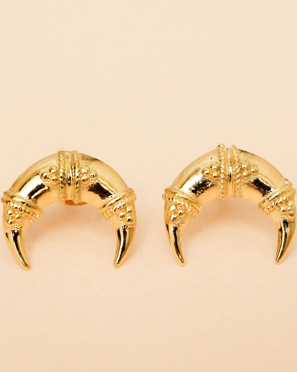 i earring maori moon stud gold plated