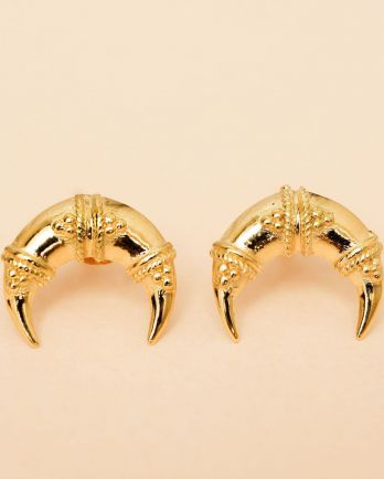 I- earring maori moon stud gold plated