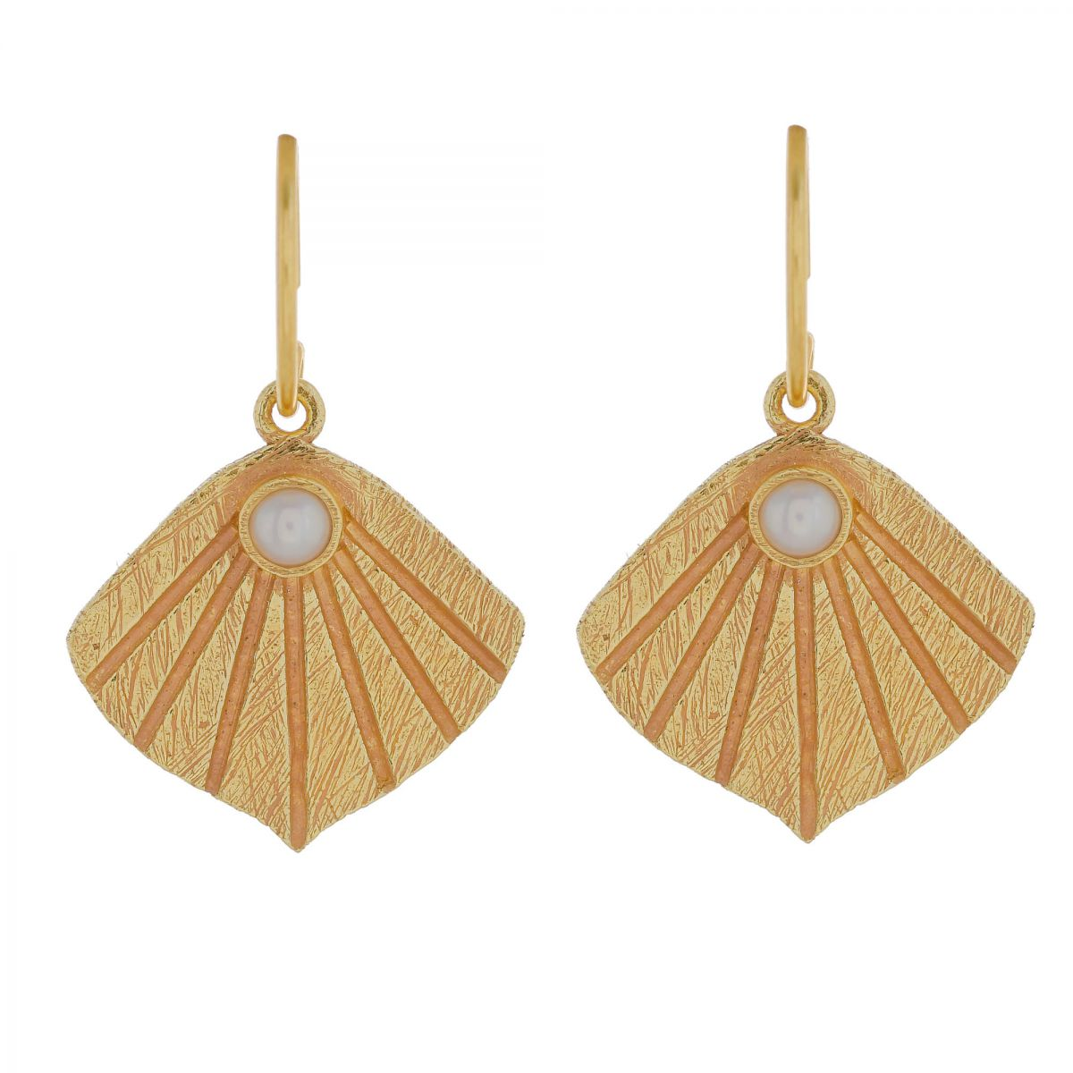 i earring wave with pearl gold plated