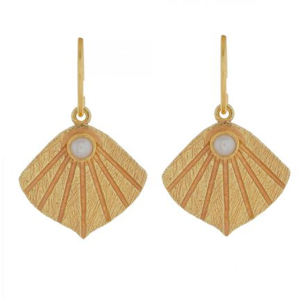 I- earring wave with pearl gold plated
