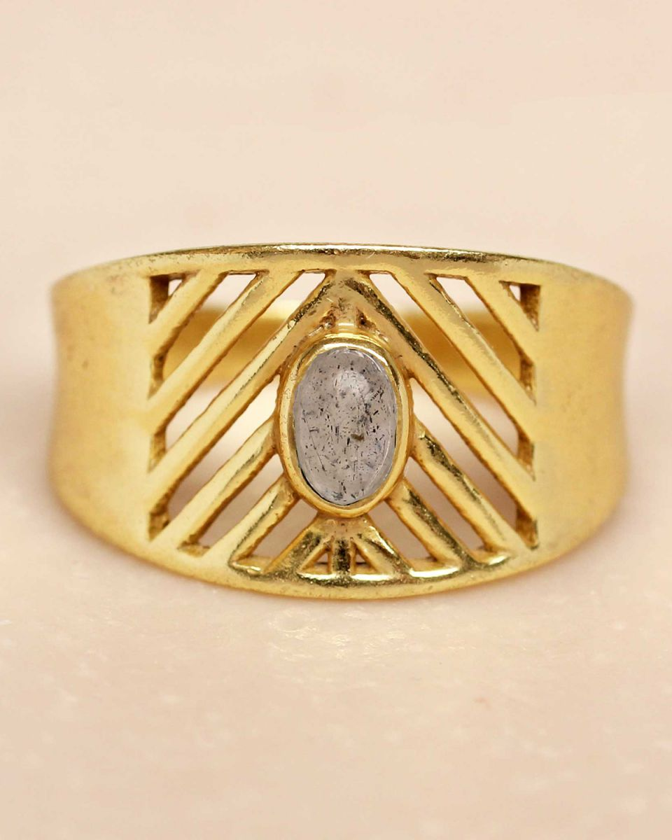 i ring size 52 labradorite oval stone open lines gold plat