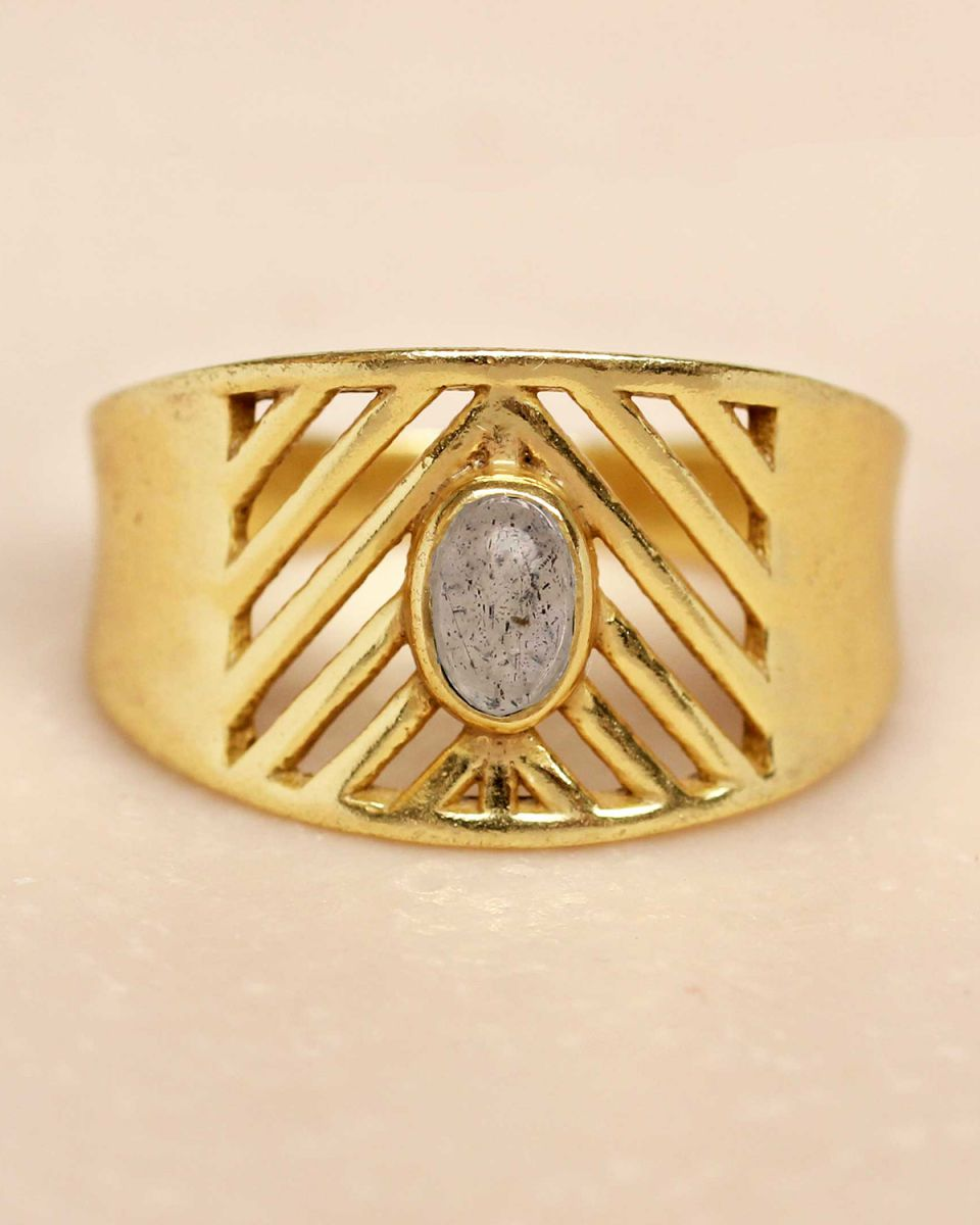 i ring size 54 labradorite oval stone open lines gold plat
