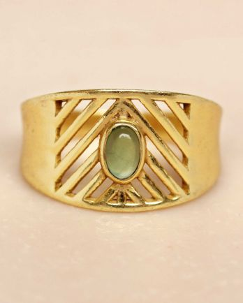 I- ring size 54 nefrite oval stone open lines gold plated