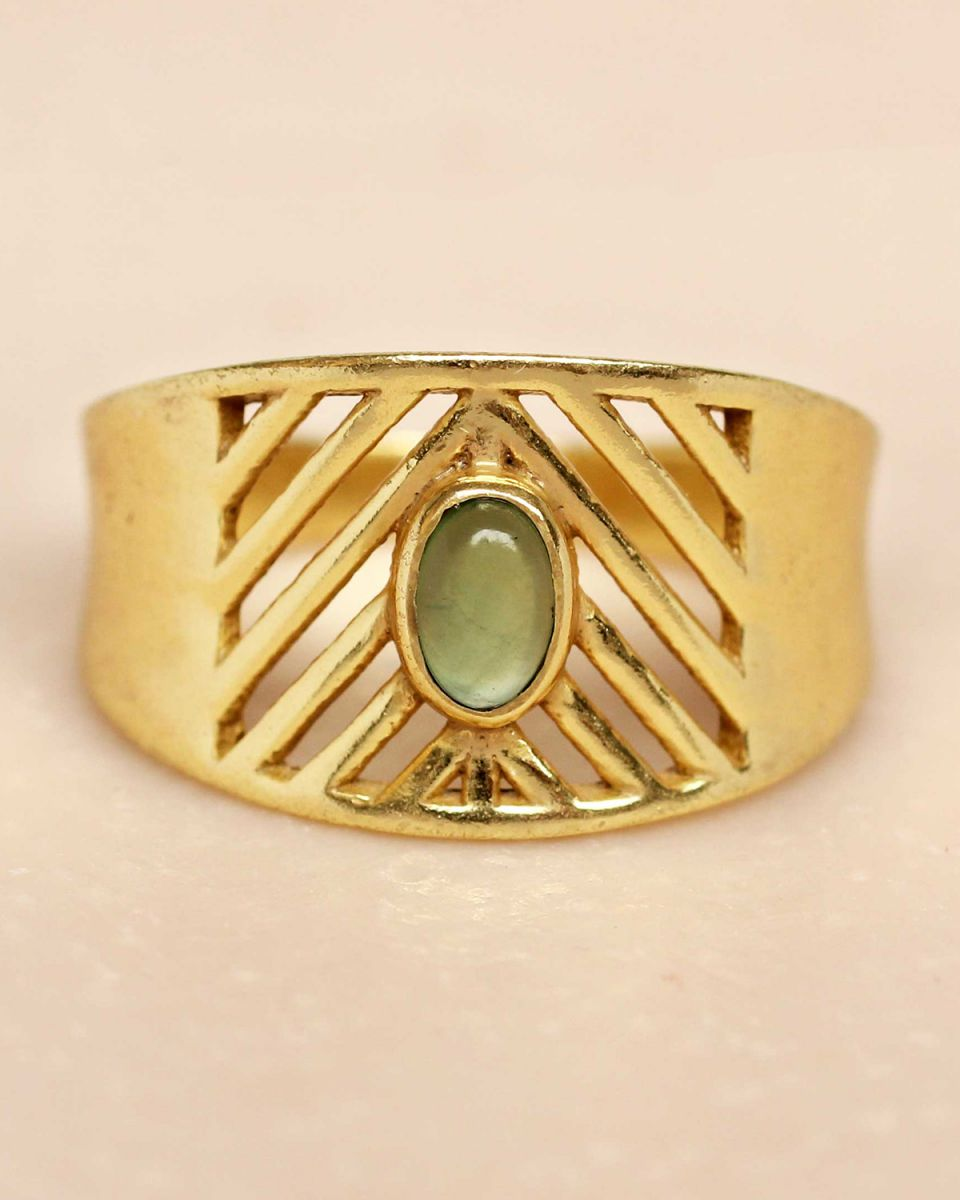 i ring size 54 nefrite oval stone open lines gold plated