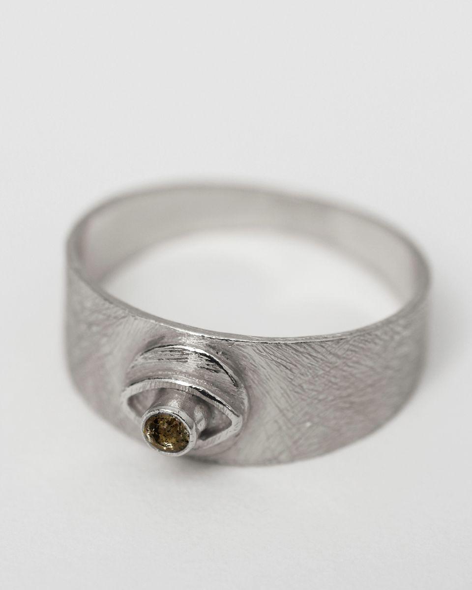 i ring size 54 signet coin eye labradorite