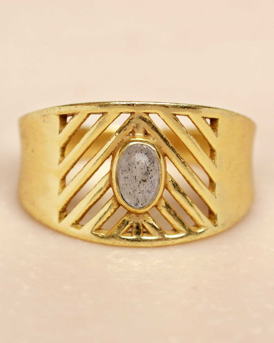 i ring size 56 labradorite oval stone open lines gold plat