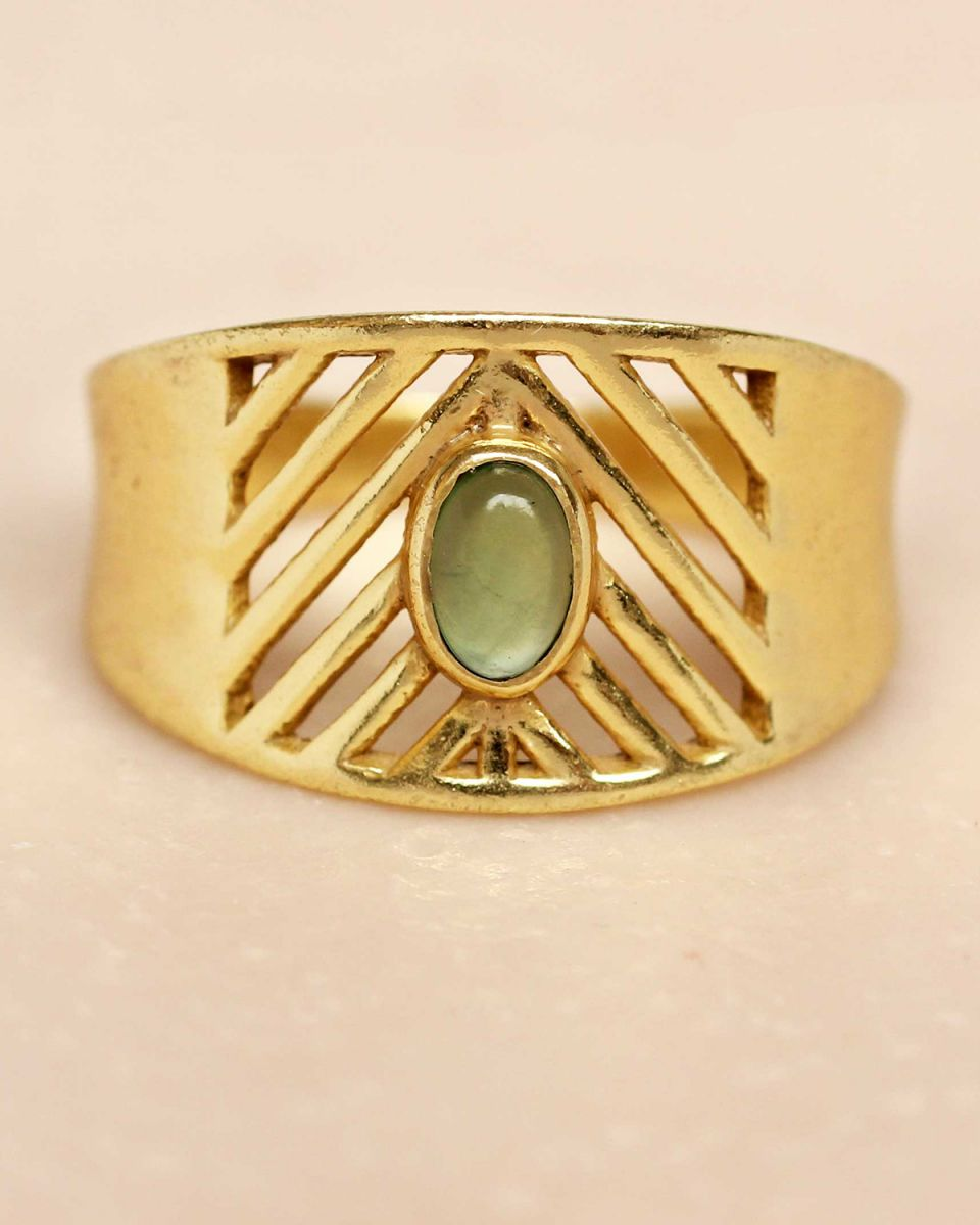 i ring size 56 nefrite oval stone open lines gold plated