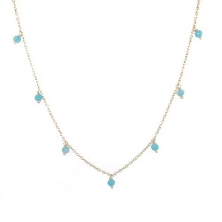 J-collier 3mm amazonite beads 45cm gold plated