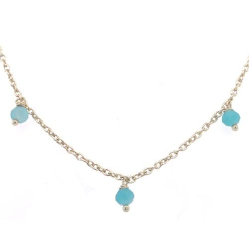 jcollier 3mm amazonite beads 45cm gold plated