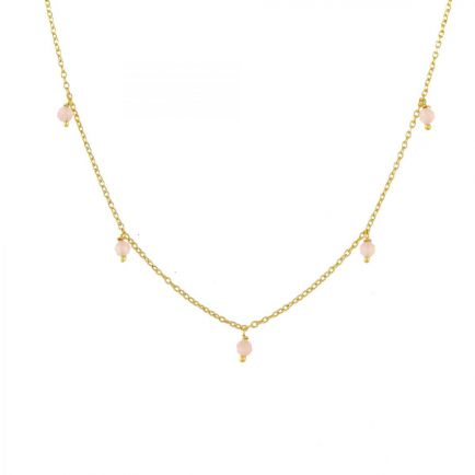 J-collier 3mm peach moonstone beads 45cm gold plated