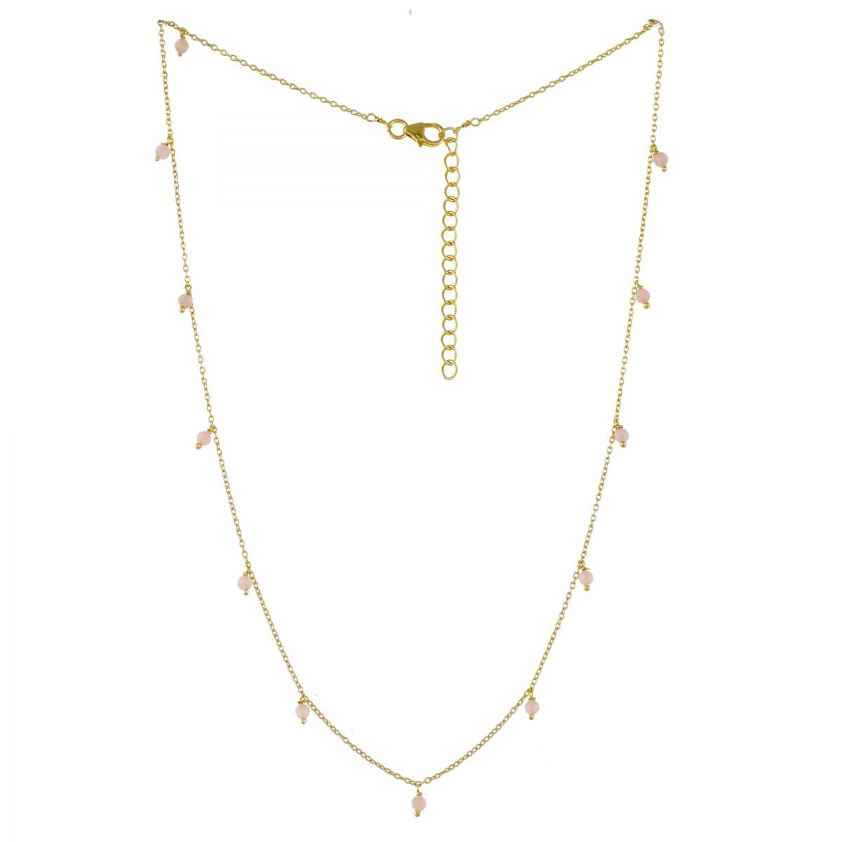 jcollier 3mm peach moonstone beads 45cm gold plated