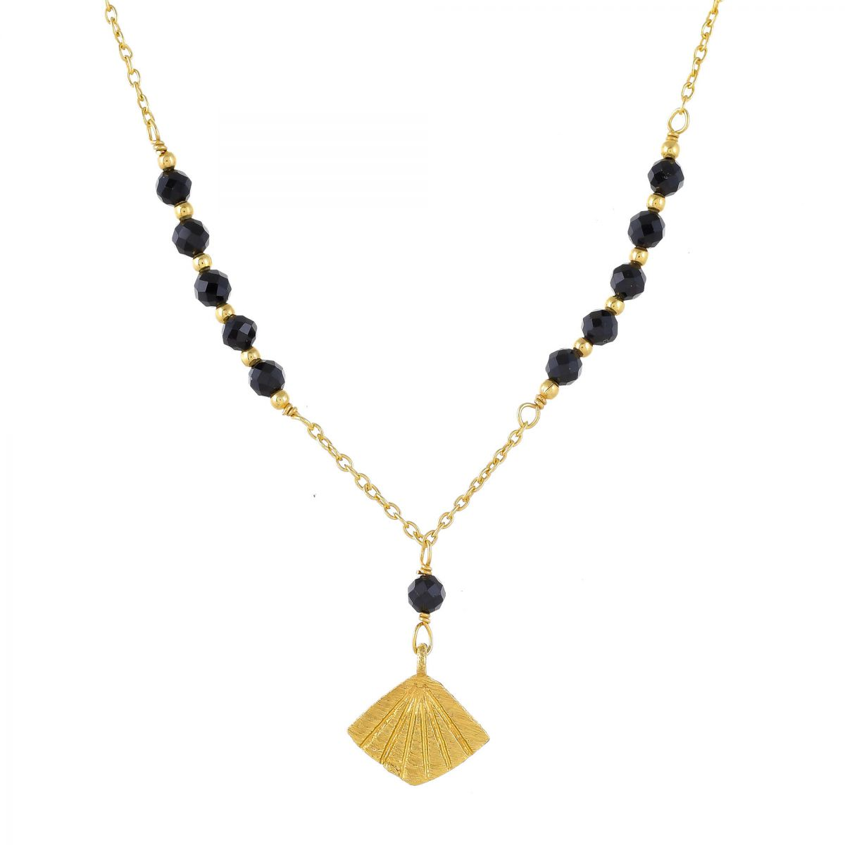 jcollier black agate beads with flabellete gold plated