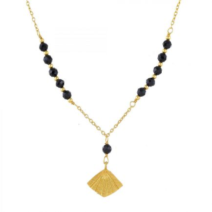 J-collier black agate beads with flabellete gold plated