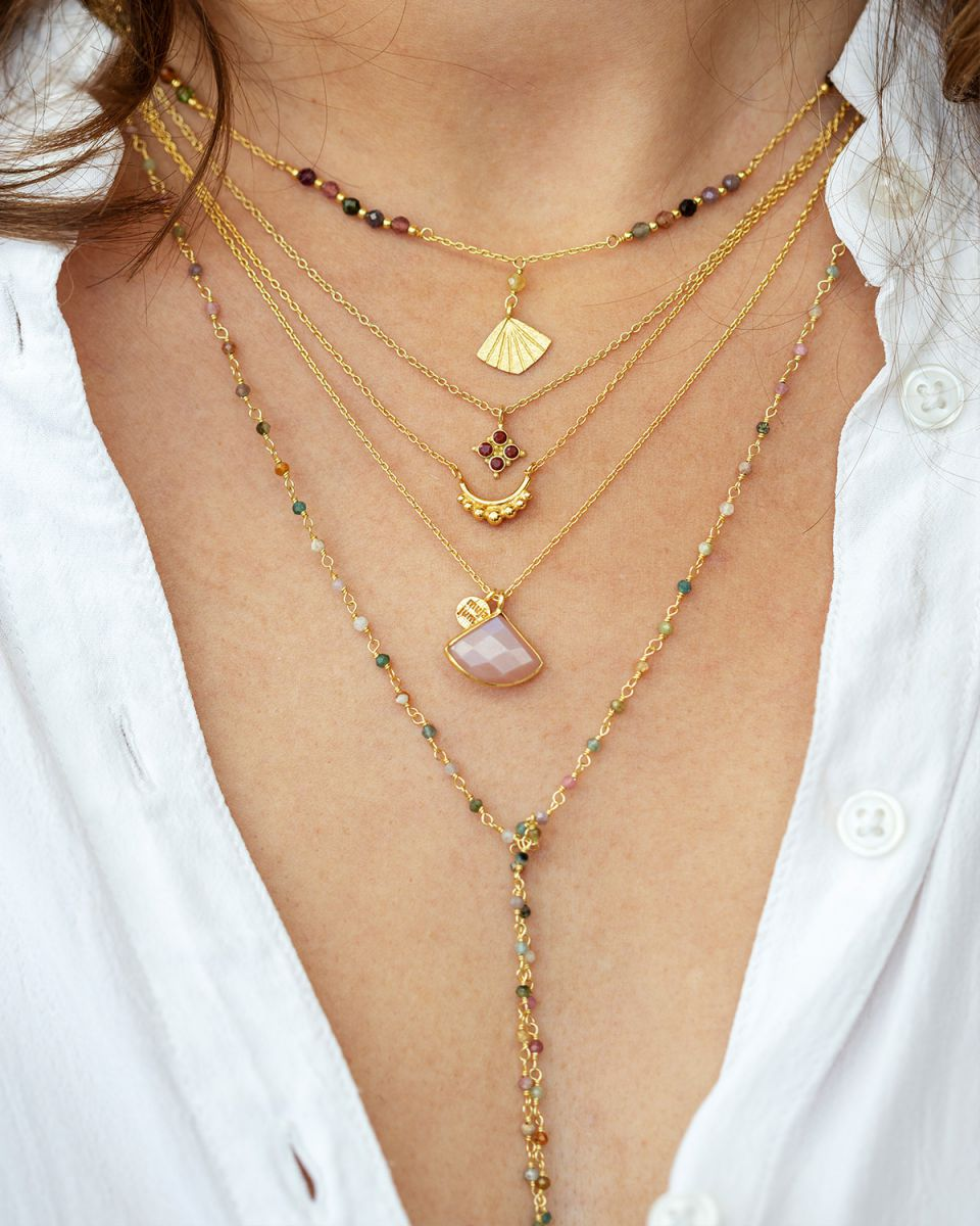 jcollier tourmaline beads with flabellete gold plated