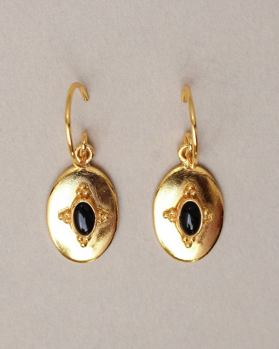 j earring 15x10 old timer black agate gold plated