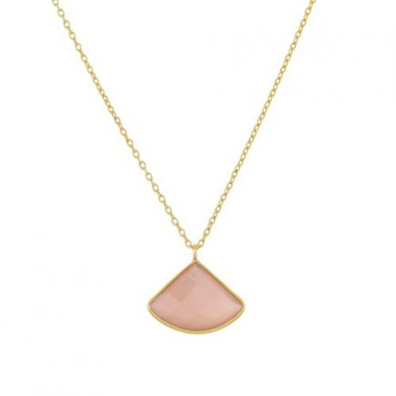 K-collier fancy peach moonstone 55cm gold plated