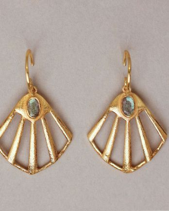 K- earring flabellate gem filigree labradorite gold plated