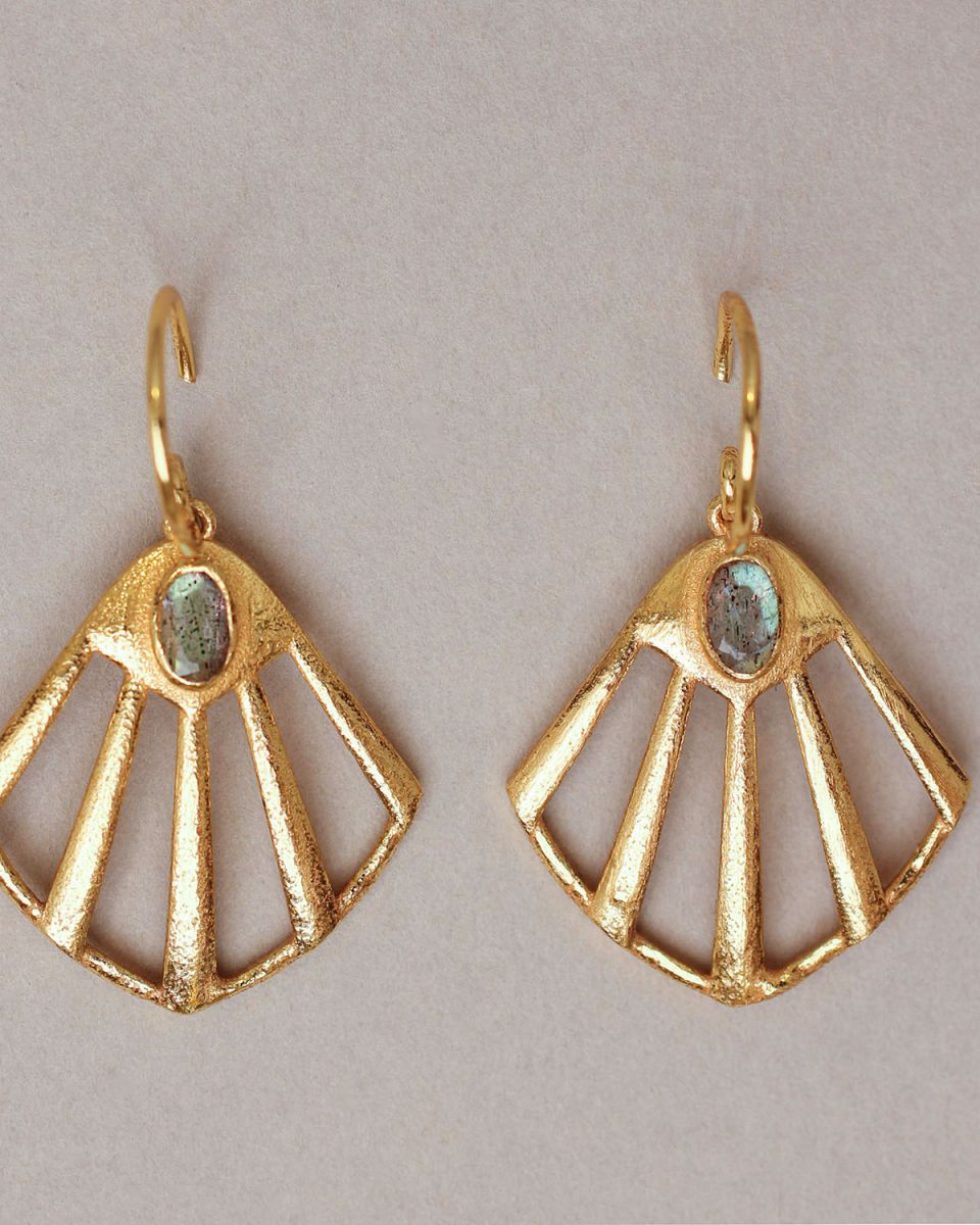 k earring flabellate gem filigree labradorite gold plated
