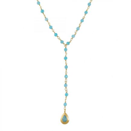 M-collier amazonite beads with drop gold plated