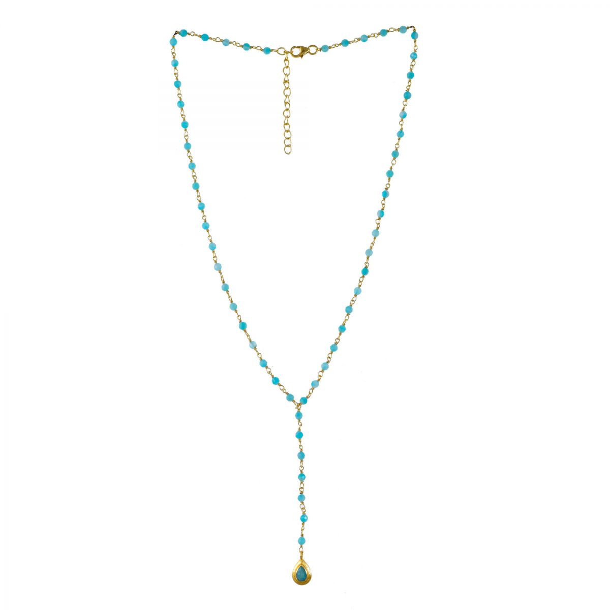 mcollier amazonite beads with drop gold plated