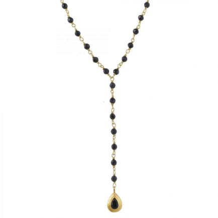 M-collier black agate beads with drop gold plated