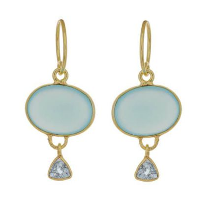 Earring hanging oval + hanging triangle