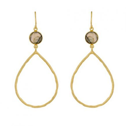 Earring hanging hammered drop + 8mm stone