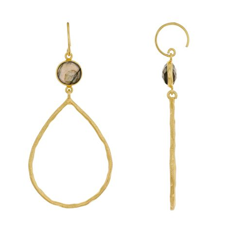 m earring hammered drop 8mm labradorite gold plated