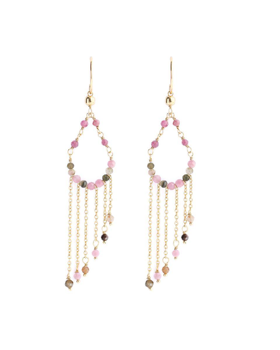 m earring hippie beads turmaline gold plated