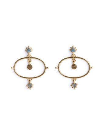 P- earring etnic chic labradorite gold plated