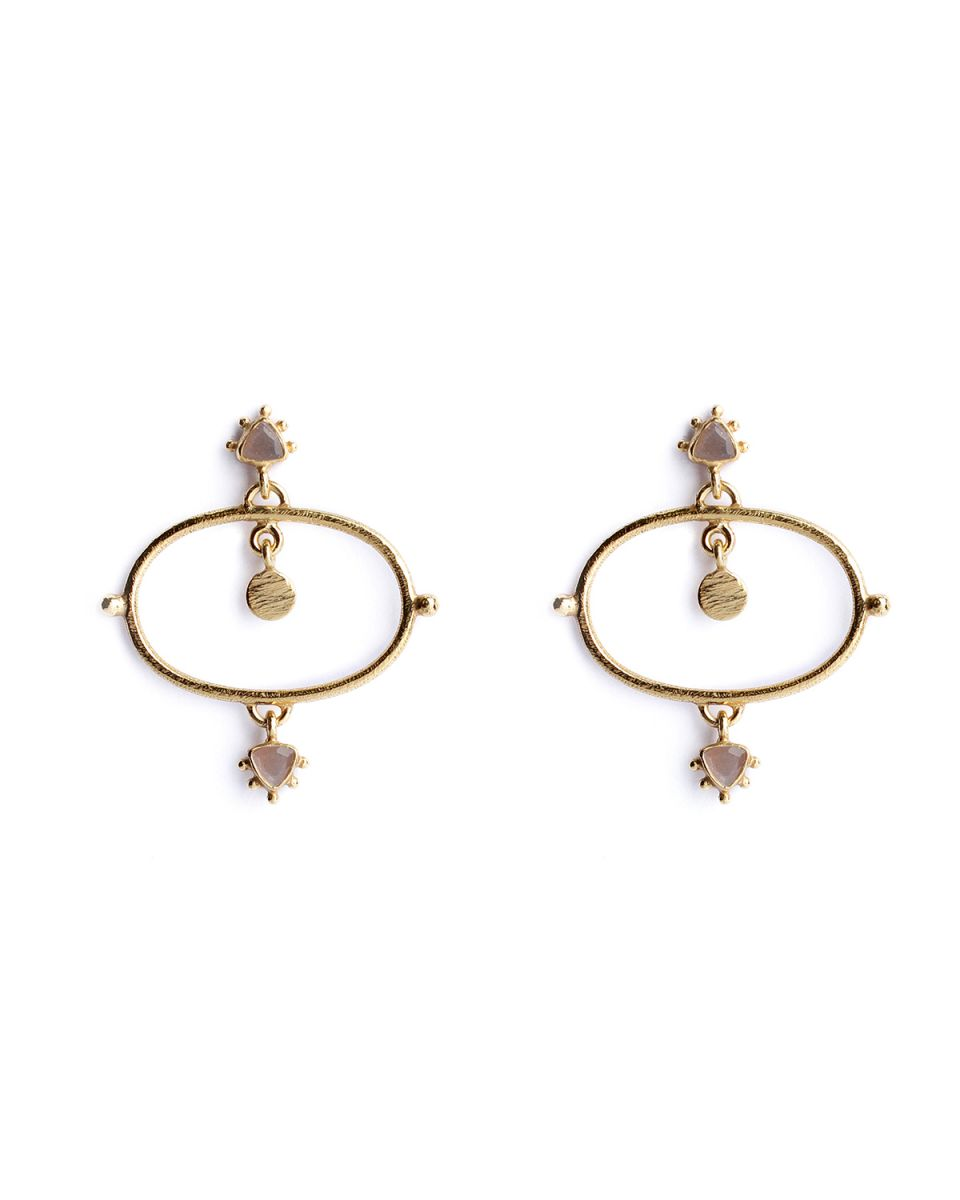 p earring etnic chic peach moonstone gold plated