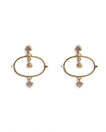 P- earring etnic chic peach moonstone gold plated